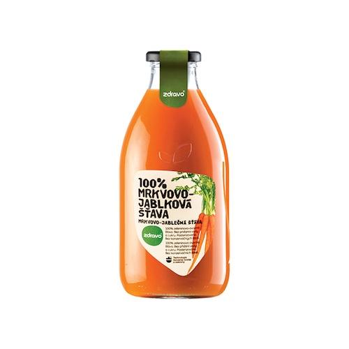 Ovocná šťava mrkva jablko 100% ZDRAVO 0,75l 1