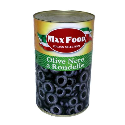 Olivy čierne krájané MAX FOOD 4250g plech 1