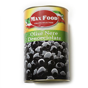 Olivy čierne celé bez kôstky MAX FOOD 4250g plech 1