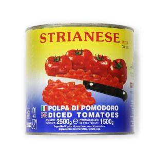 Paradajky lúpané kocky STRIANESE 2,5kg plech 3