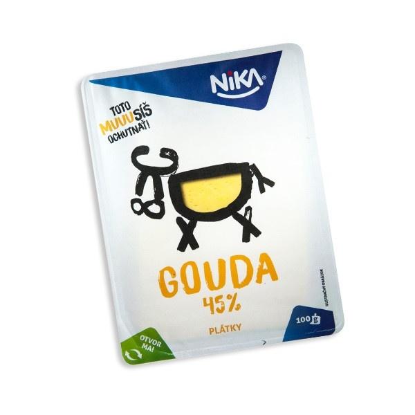 Syr 45% Gouda živočíšna plátky NIKA 100g 1