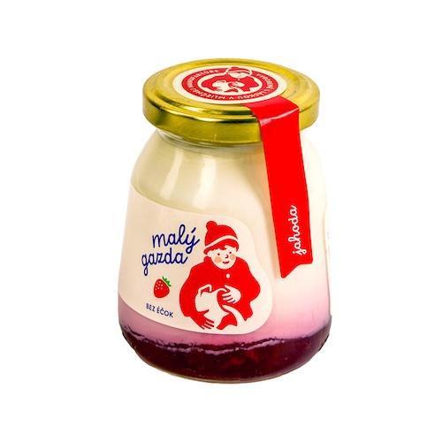 Jogurt jahodový bez Éčiek MALÝ GAZDA 200g 1