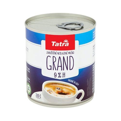 Grand zahustené nesladené mlieko 9% TATRA 310g 1