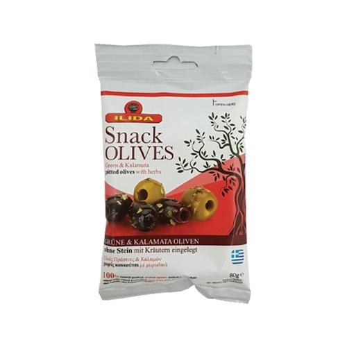 Olivy zelené/čierne MIX bez kôstky ILIDA 80g 1