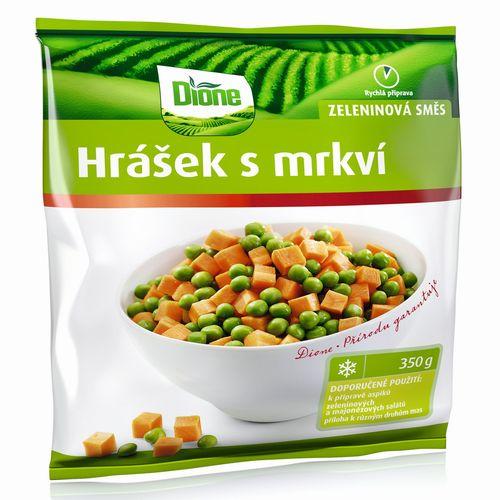 Mrazená zeleninová zmes hrášok s mrkvou Dione 350g 1
