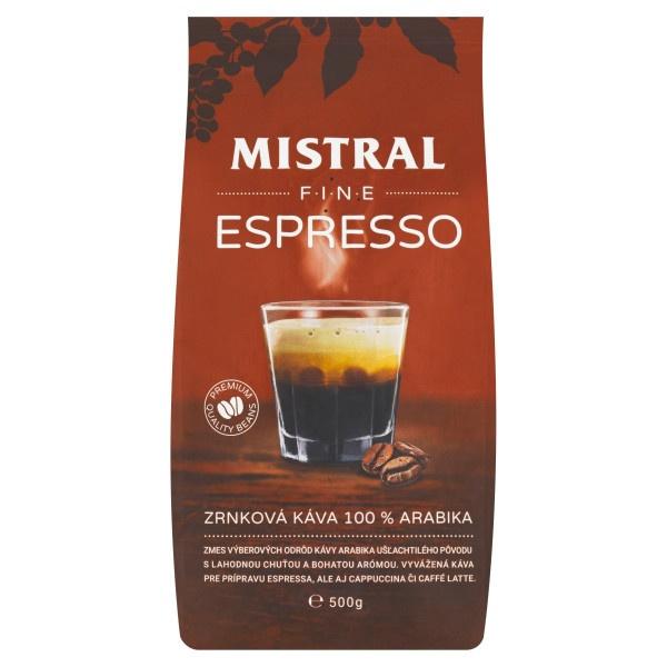Mistral Fine Espresso zrnková káva 100 % 500g 1