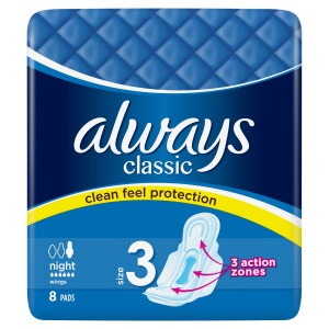 Always Classic Night hyg.vložky s krídelkami 8ks 3