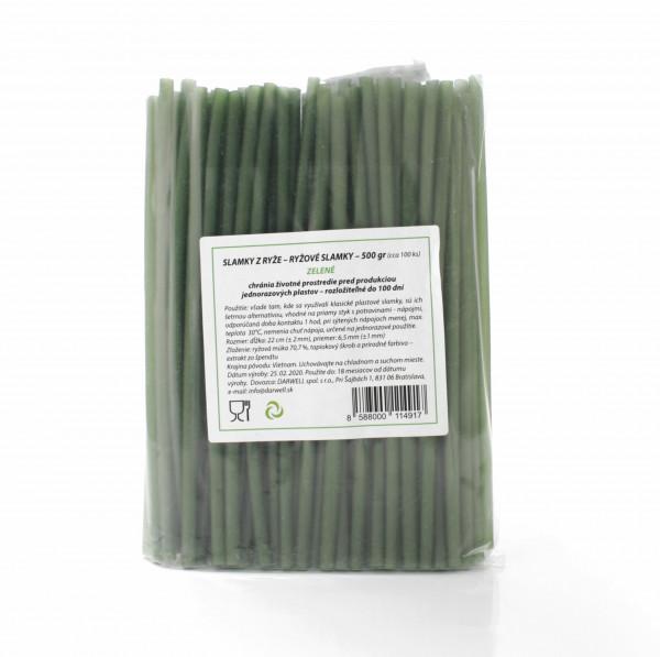 Slamky z ryže 500g cca 100 ks zelené (špenát) 1