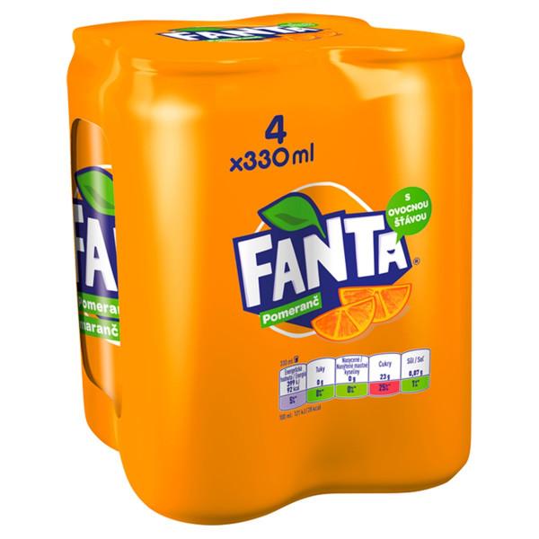Fanta pomarančová 0,33l plech 4ks balenie 1