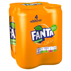 Fanta pomarančová 0,33l plech 4ks balenie 2
