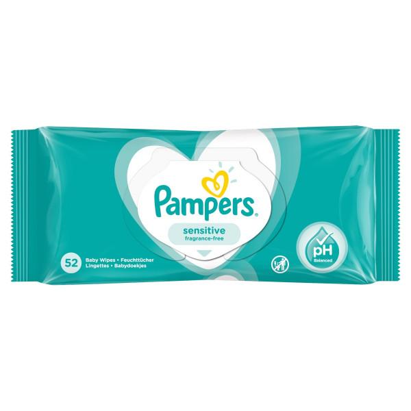 Pampers Fresh Sensitive, vlhčené obrúsky 52 ks 1