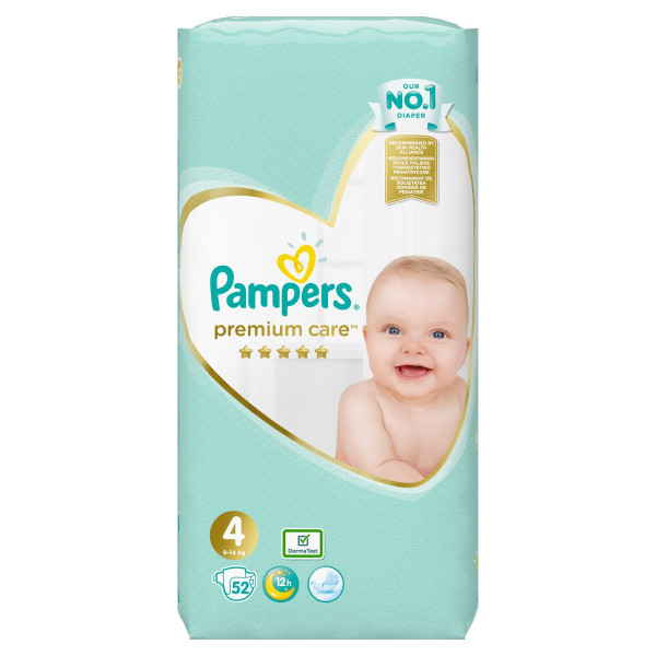 Pampers Premium Care Veľ.4, 9-14kg, Plienky 52ks 1