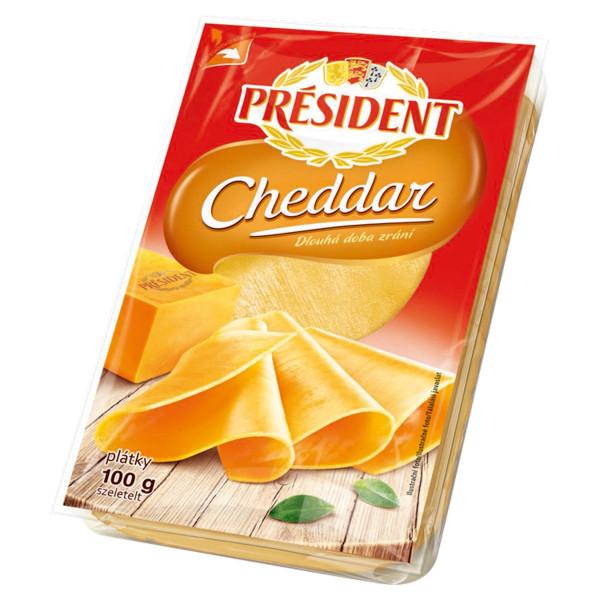 Syr Cheddar plátky PRÉSIDENT 100g 1
