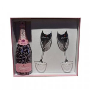 Champagne Pink Message + 2 poháre číre 2
