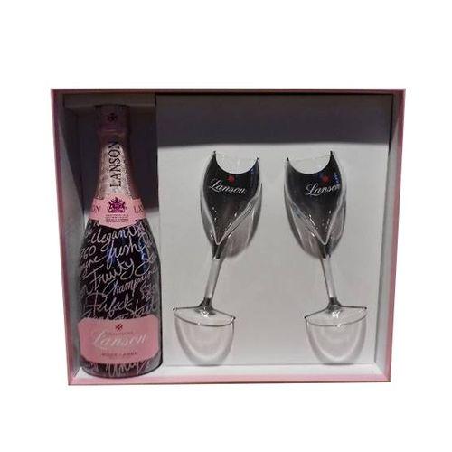 Champagne Pink Message + 2 poháre číre 1