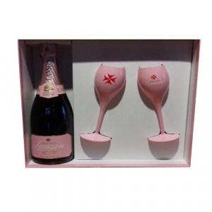 Champagne Rosé Label + 2 poháre s ružovou fóliou 7