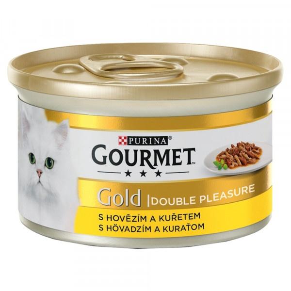 GOURMET Gold Double Pleasure hovädzíe a kura 85 g 1