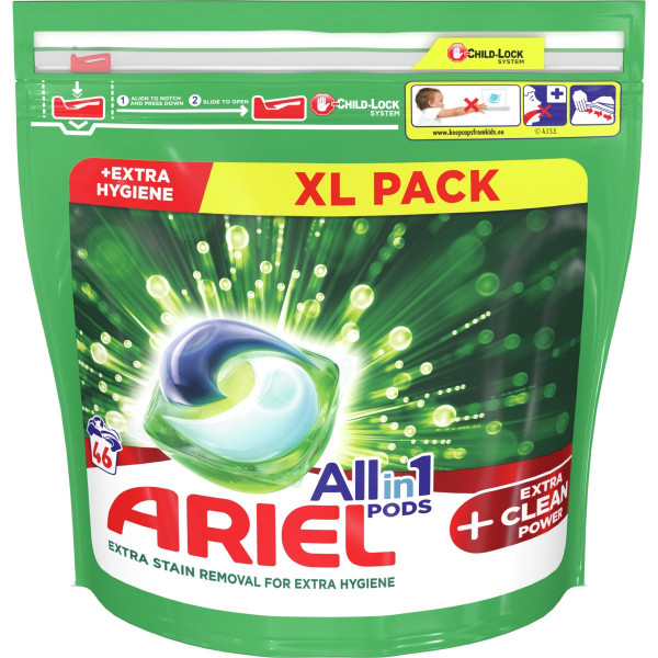 Ariel All In 1 Pods +Extra Clean, kapsule 46PD 1