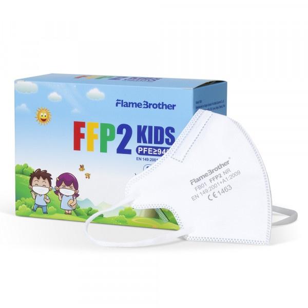 Respirátor biely FFP2 KIDS FlameBrother bal. 20ks 1