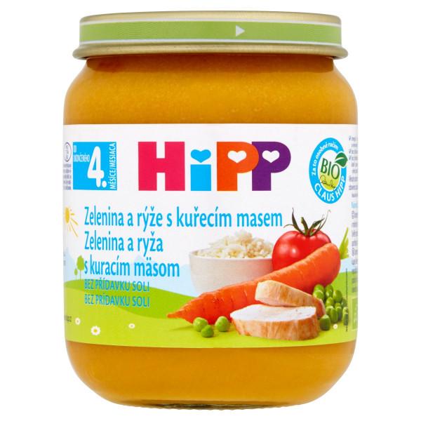 HiPP BIO Zelenina a ryža s kuracím mäsom, 125g 1