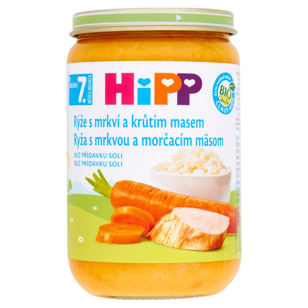 HiPP BIO Ryža s mrkvou a morčacím mäsom, 220g 1