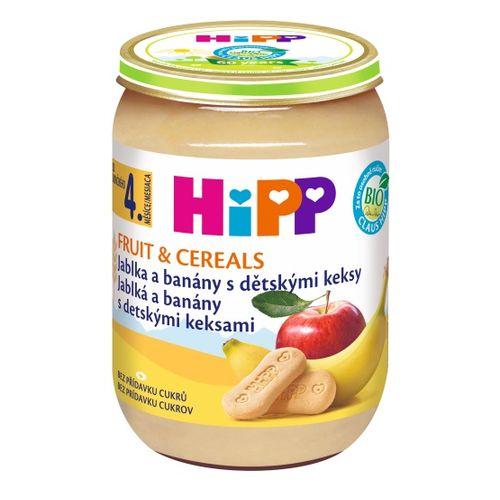 HiPP BIO Jablká a banány s detskými keksami, 190g 1