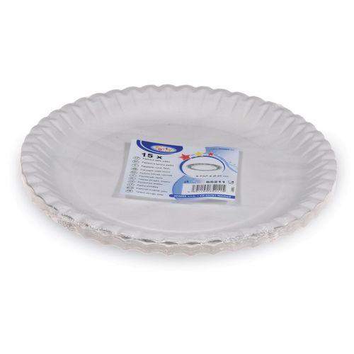 Taniere papierové plytké 23 cm biele, 15ks 2