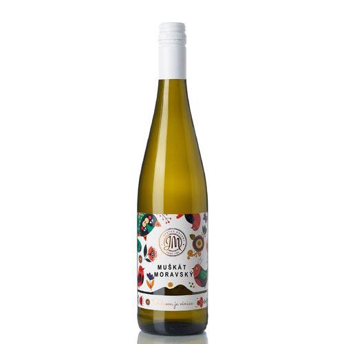 Víno b. Muškát moravský suché, JM Doľany 0,75l SK 1