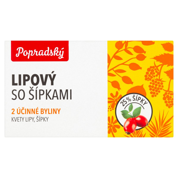 Popradský Lipový so šípkami bylinný čaj 15x1,5g 1
