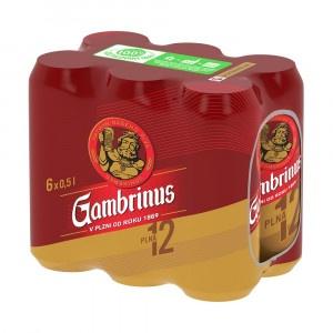 Pivo Gambrinus Plná12 ležiak svetlý 0,5l plech 6ks 15