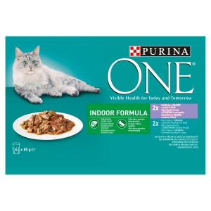 Purina ONE Indoor 2x tuniak 2x teľacie mäso 4x85 g 16