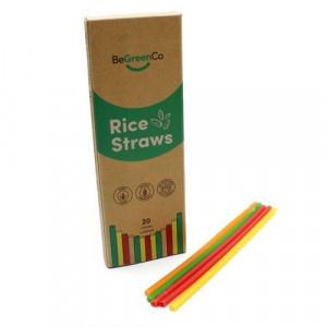 Slamky z ryže 20ks farebné, BeGreenCo 21