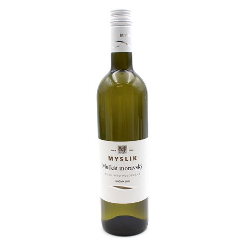 Víno b. Muškát moravský polosuché, Myslík 0,75l SK 1